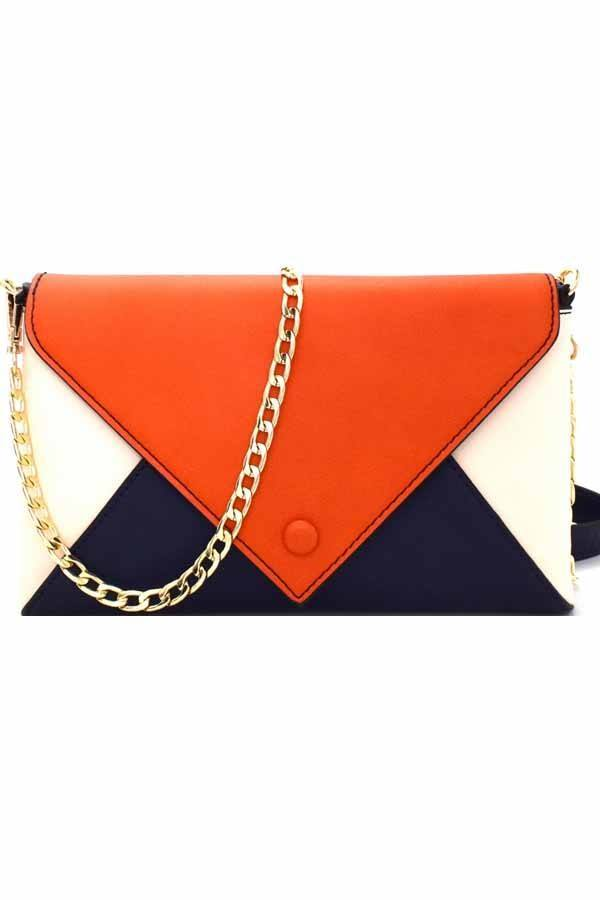 Color Block Envelope Clutch Shoulder Bag