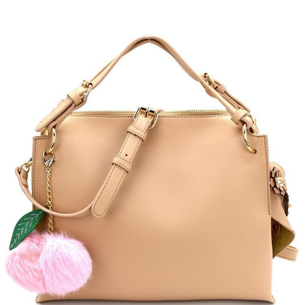 Leaf Pom Pom Accent Studded Flower Side Satchel