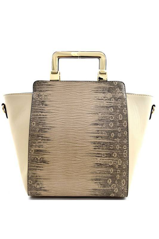 Lizard Skin Print Hardware Handle Wing Satchel