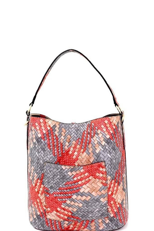 Multi-Color Woven Print 2-in-1 Hobo with Plaid