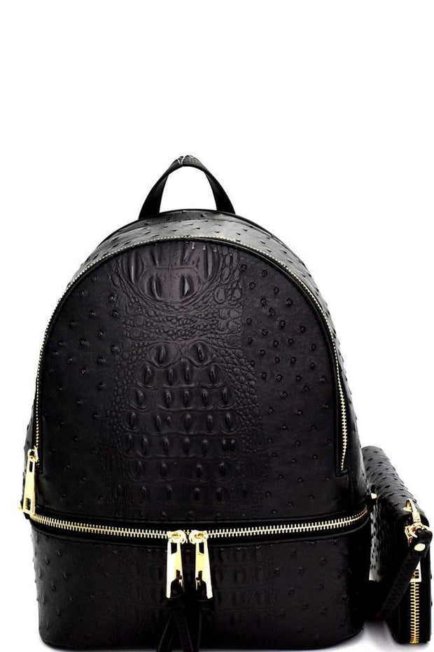 Ostrich Embossed Multi Compartment Backpack