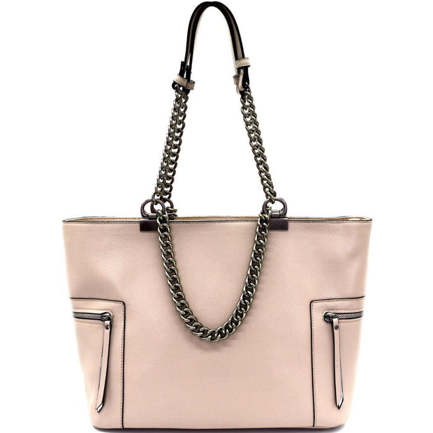 Pewter-Tone Hardware Chain Accent Shopper Tote