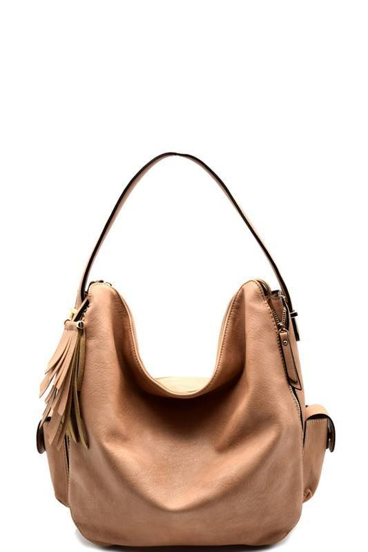 Tassel and Zipper Detail Side Pocket Hobo