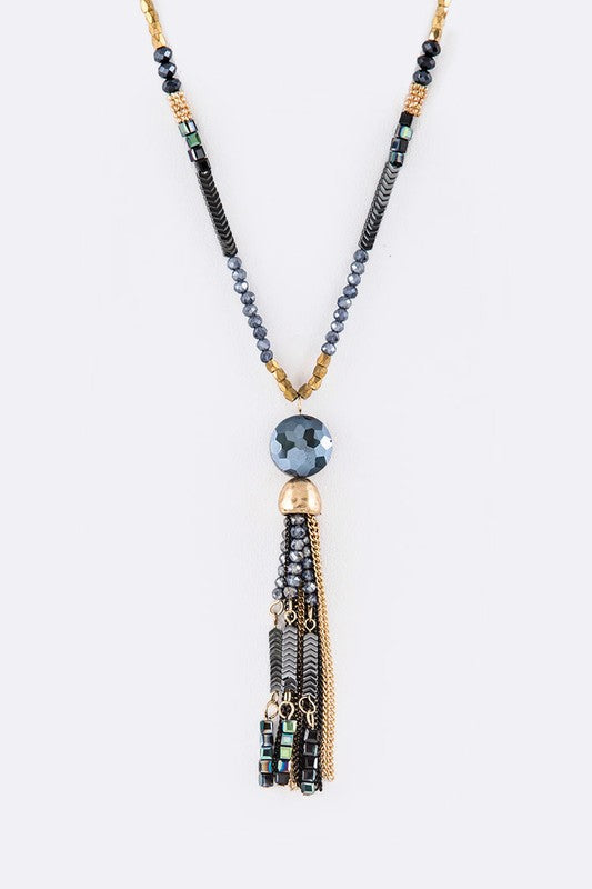 Mix Media Tassel Long Pendant Necklace Set
