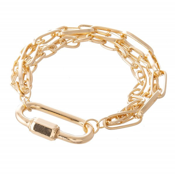 Carabiner Lock Layered Chain Bracelet