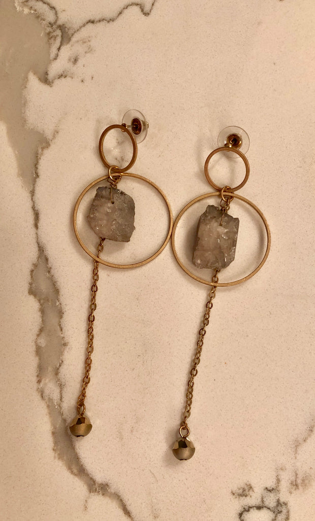 Double Circle With Druzy & Chain Dangle Earring