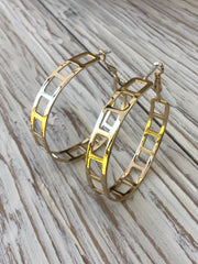 Laser Cut Rectangle Hoop Earrings