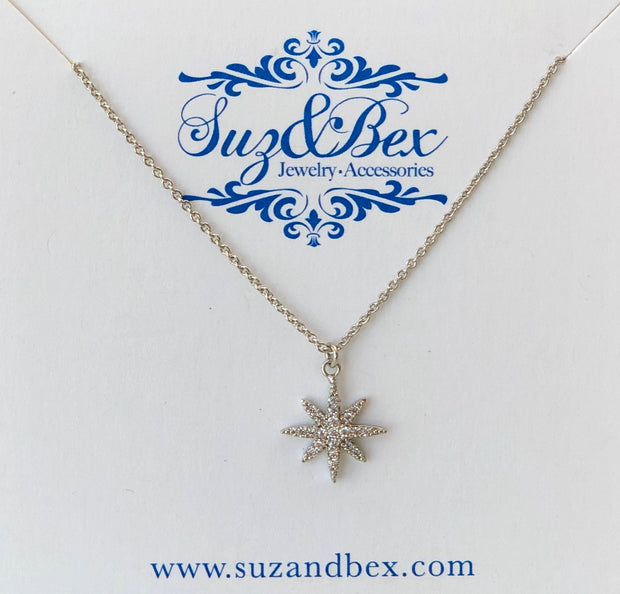CZ Starburst Icon Pendant Necklace