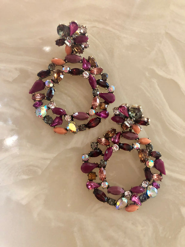 Multi Color Jeweled Statement Earrings