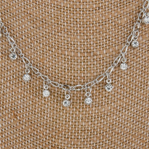 Metal Necklace With Rhinestone Dangles