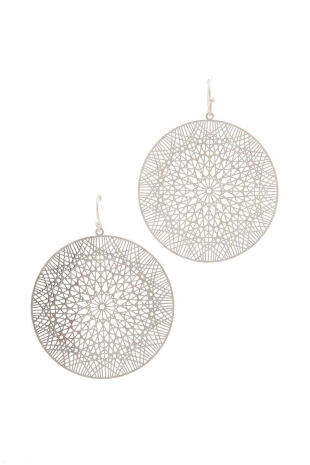 Laser Cut Filigree Circle Drop Earring