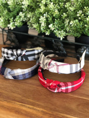 Plaid Print Knot Headband