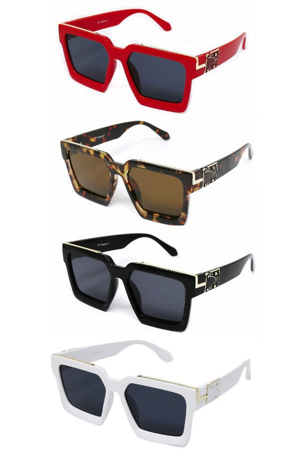 Metal Trimmed Square Sunglasses