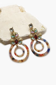 Multi Color Stone With Acetate Ring Earrings