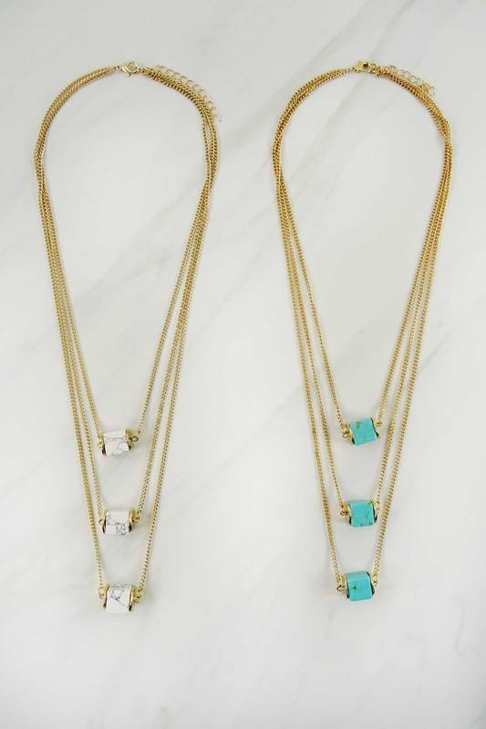 3 Square natural stones layered necklace