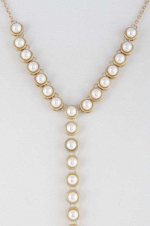 Circle Rhinestone Y-Shape Lariat Tassel Necklace