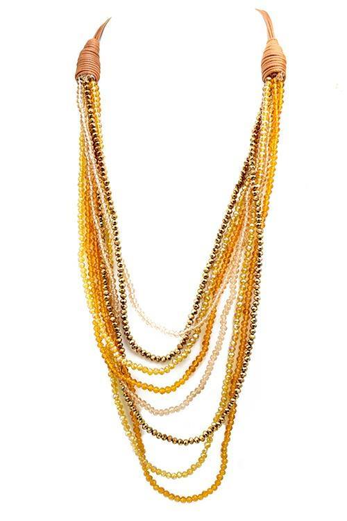 Crystal Beaded Multi Layered Necklace