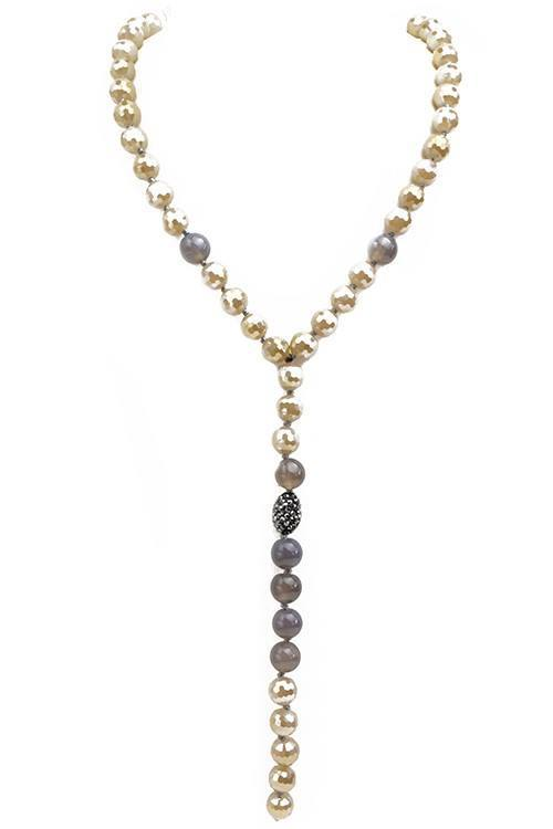 Crystal Beaded Y Shaped Necklace w/ Natural Stone