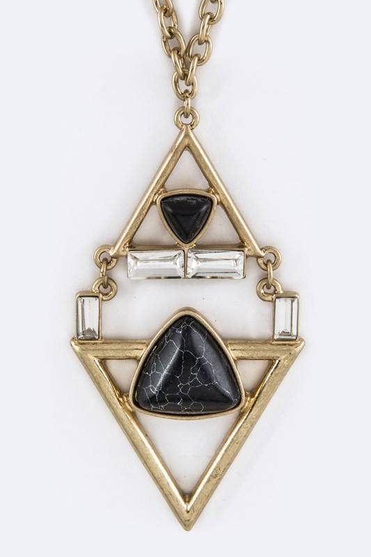 Crystal & Stone Rhombus Pendant Necklace