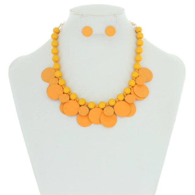 Disc and Beads Colored Statement Necklace