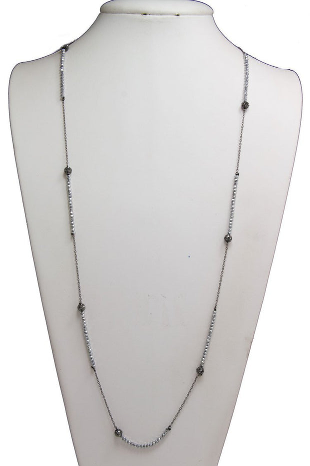Glass Beaded Crystal Pave Ball Long Necklace