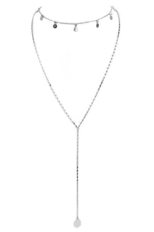 Layered Lariat Drop Disc Necklace