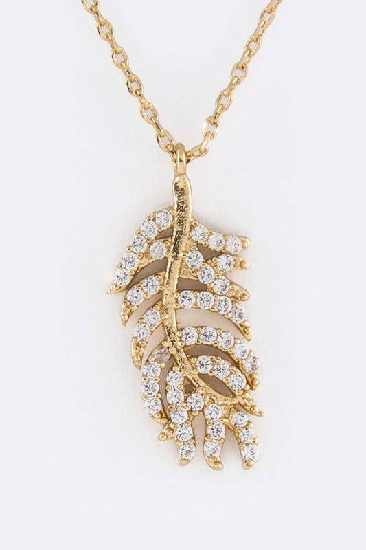 Micro Setting Pave Leaf / Feather Charm Necklace