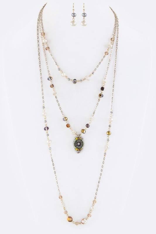 Mix Beads with Japanese Bead Design Layer Necklace