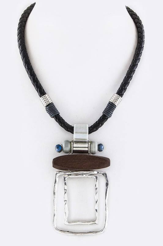 Mix Charms Pendant Braid Leather Necklace