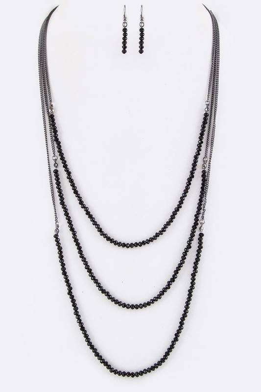 String Beads Layered Necklace Set