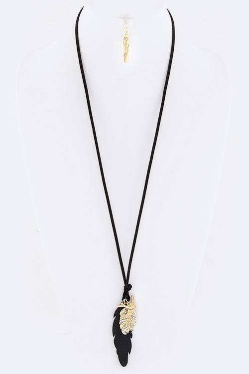 Swallow Mix Feather Charms Leather Necklace