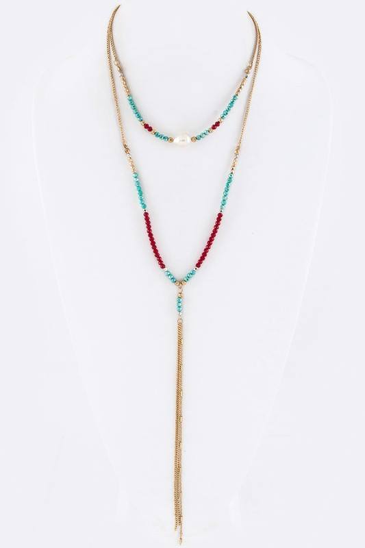 Turq Red and Pearl Mixed Beads 2-Layer Necklace