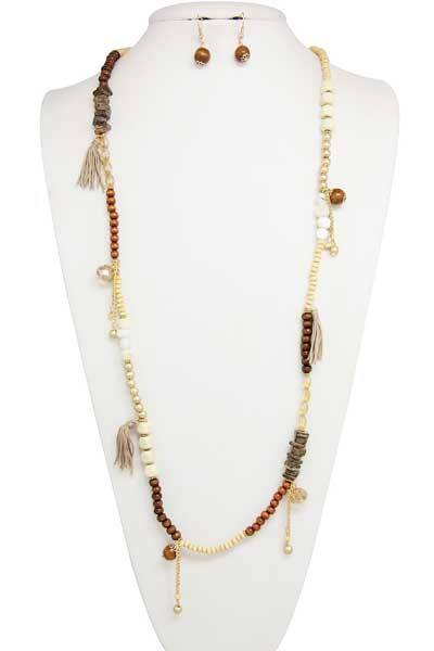 Coconut Wood Beaded Long Necklace w/Fabric Tassel