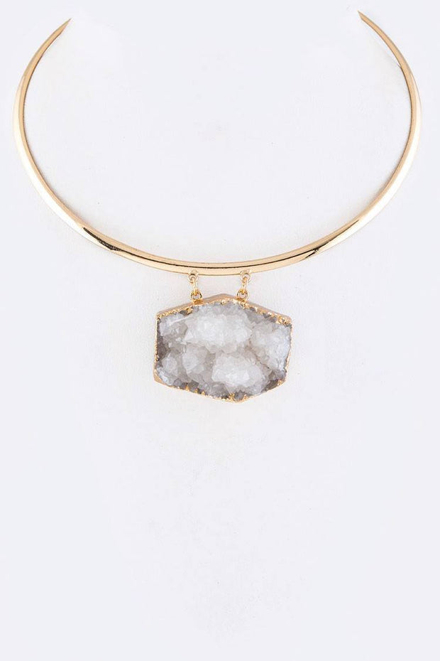 Druzy Pendant Collar Necklace