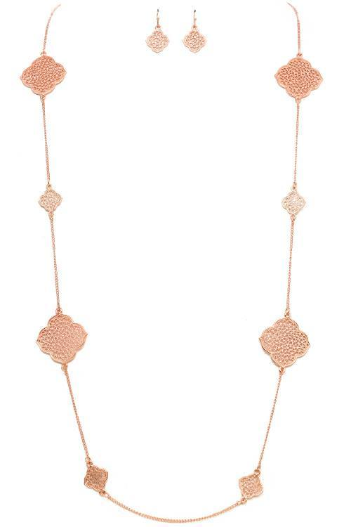 Laser Cut Filigree Clover Stations Necklace
