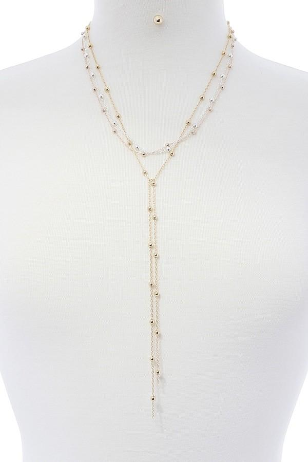 Metal Long Y-Necklace Set