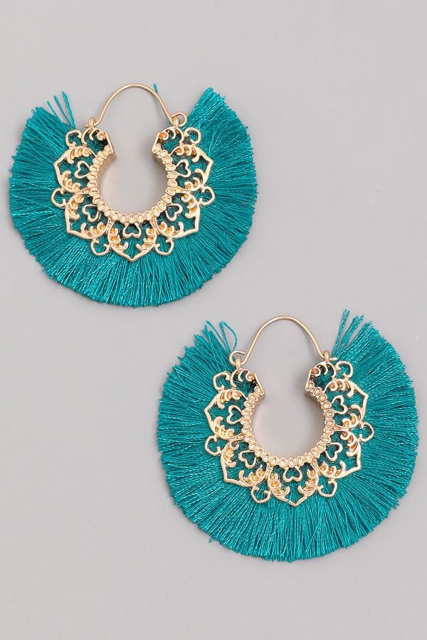 Gold Scroll Design Tassel Fan Earring