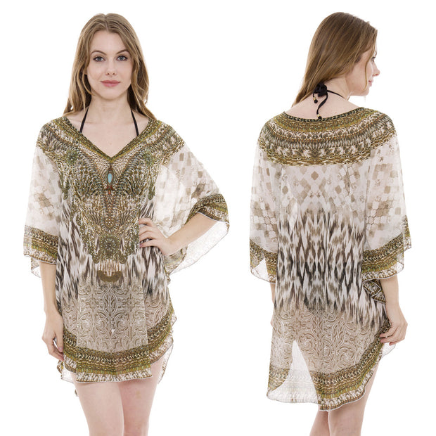Mixed Print Safari Caftan