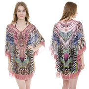 Pink Leopard Print Caftan with Stones