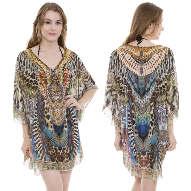 Brown Leopard Print Caftan with Stones