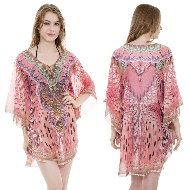 Pink Feather Print Caftan with Stones