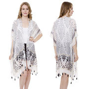 Long Abstract Print Kimono With Tassels