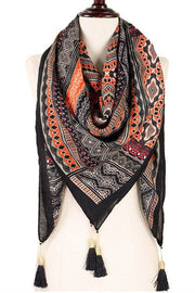 Abstract Print Square Scarf With Tassel Ends