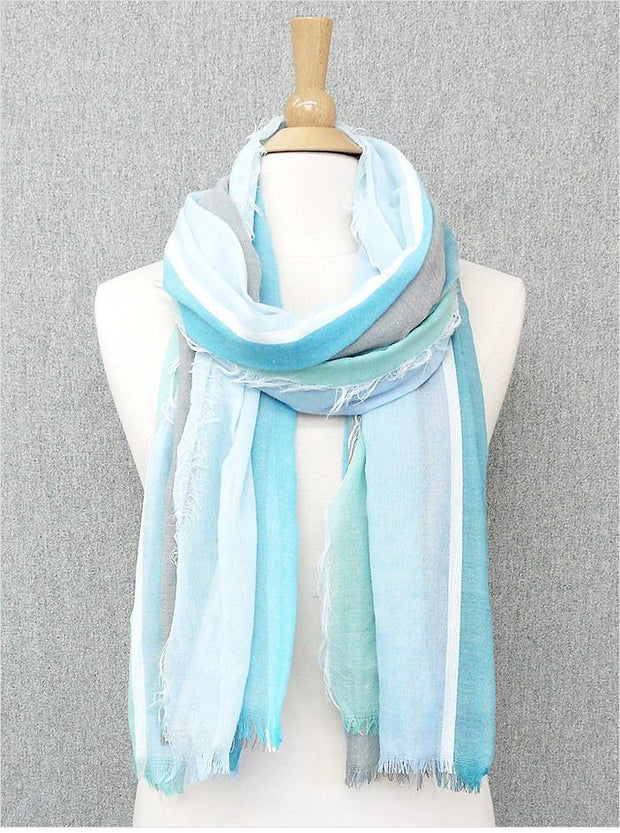 Mix Tone Stripes Raw Edge Scarf