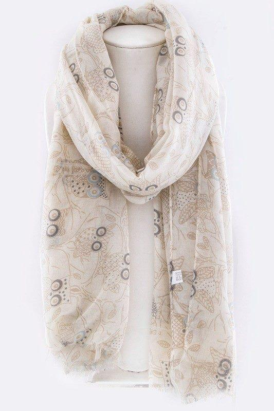 Owl Sketchy Print Fashion Scarf