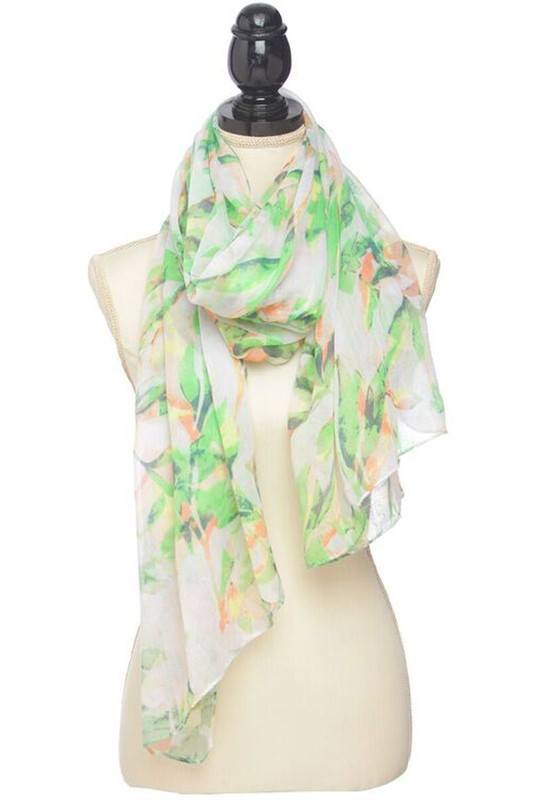 Watercolor Tropical Leaf Print Scarf