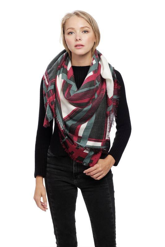 Plaid Square Fringe Scarf