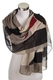 Stripe and Color Block Printed Scarf
