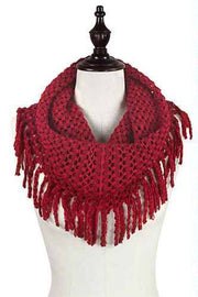Two Tone Mini Tube Scarf with Fringe