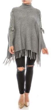 Boho Tie Sleeve Poncho Sweater With Fringe